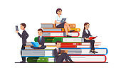 Business people education & knowledge concept. Businessman, businesswoman sitting on a big stack of books reading paper books and digital on modern tablet computers. Flat cartoon vector character illustration