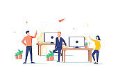 Coworking space flat design style colorful illustration on white background. High quality composition with male, female