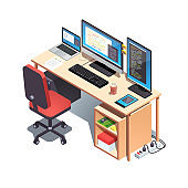 Web developer programmer working desk with opened project code on monitors. Laptop computer, desktop pc setup table with casters chair, mechanical keyboard. Flat isometric pseudo 3d vector illustration