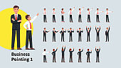 Business men pointing index finger in different directions set. Front and back views of gesturing businessman person. Businessman standing, pointing aside, up with one and both hands. Flat vector character illustration