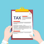 Concept tax payment. Paperwork, financial research report and calculation of tax return. Vector illustration