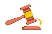 Judge hammer icon law gavel. Auction court hammer bid authority concept symbol. Wooden judge ceremonial hammer