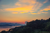 sunset beach ocean sea sky of fire