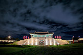 Night view of Suwon Hwaseong Fortress Changnyongmun Gate - Suwon, Korea. July 06 in 2018