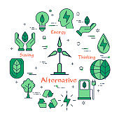 Banner of alternative clean energy with wind generator