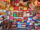 Market stall with handmade souvenirs, Antananarivo, Madagascar