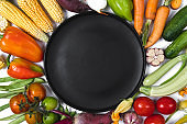 Pattern made of autumn vegetables. Tomatoes, onion, cucumber, carrot, garlic, red beet, pepper, zucchini, corn, green haricot and black plate on white background. Flat lay, top view, copy space