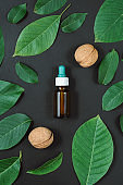 Natural Serums. Cosmetic and therapeutic walnut oil on black background. Flat lay, top view, copy space