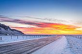 Winter sunrise on Hringvegur in Iceland