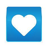 Heart icon shiny blue square button