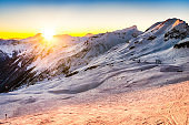 Sunset behind the Austrian Alps