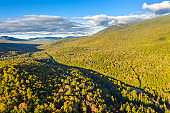 Aerial view of White mountain road, in New Hampshire