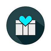 Gift box love icon sign - vector flat