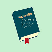 Mathematics. Book with maths doodles with lettering.
