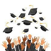University graduation traditional ceremony flat illustration