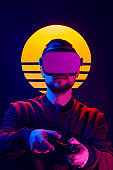 VR game in synthwave and retro wave futuristic aesthetics.