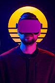 VR synthwave aesthetics portrait.