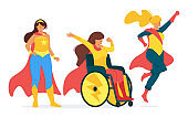 Powerful female heroes with capes flat vector illustration collection