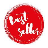 Bestseller handwritten label on red circle with grunge brush stroke background.