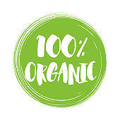 100% Organic natural product handwritten lettering.