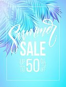 Summer sale lettering design in a colorful blue and purple palm tree leaves background. Vector illustration