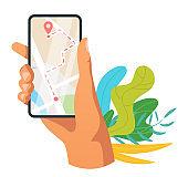 Navigation mobile app vector illustration
