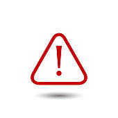 Red attention sign icon in trendy flat vector design