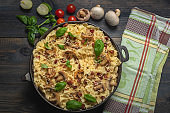 casserole  pasta with mushrooms, sausage and cheese