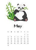 May calendar with panda template