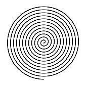 Thin black spiral symbol.