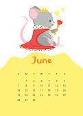 June calendar flat vector template