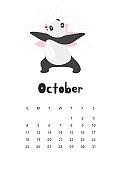 October calendar with panda template