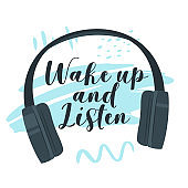 Wake up and listen flat vector illustration