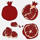 Whole and cut pomegranate icon set.