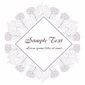 Card with flower, leaves and geometrical frame. Wedding ornament concept. Vector Floral poster.