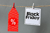 Black friday text concept. Text written on a string hung on a string.