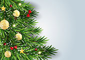 Abstract Holiday New Year and Merry Christmas Background with realistic Christmas tree. Vector Illustration