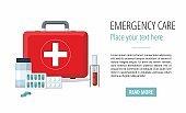 Medicine pills,  First Aid Box, Medical test tube. Web banner.