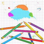School supplies background with heap of realistic colorful pencils isolated on white background with grid pattern and paint splashes. Back to school design element for banner, poster, flyer