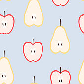 Seamless pattern of pear and apple