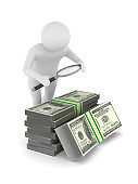 Man with magnifier and money on white background. Isolated 3D illustration