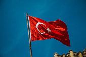 Turkish national flag hang on a pole