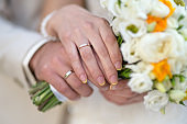 The bride and groom's hands with rings