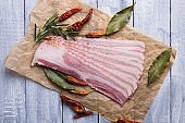 Slices of smoked bacon