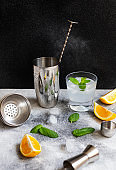 Cocktail shaker and bar tools. Ingredients for a cold alcoholic cocktail. Mojito cocktail. Lemon, mint, ice, rum. Front view, vertical, gray background, copy space