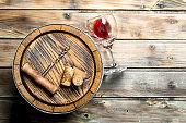 Wine background. Barrel of red wine.