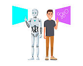 Vector illustration of smiling men in casual clothes with hand ok sign and robot. Cartoon realistic people set. Flat young man. Side view. Human vs robot, RPA, Automation, Multi task - Vector