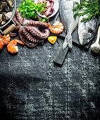 Assortment of fresh seafood.