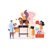 Veterinarian vector concept for web banner, website page