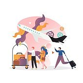 Airport vector concept for web banner, website page